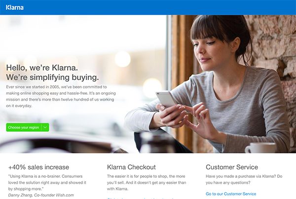 Klarna makes online shopping simple, we allow you to buy without the use of cards and only using top of the mind information.