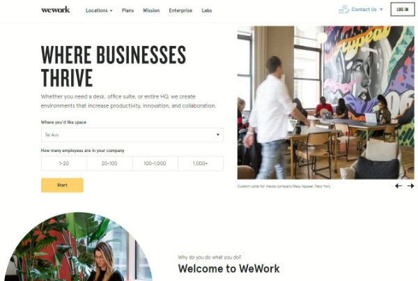 WeWork is a global network of workspaces where companies and people grow together. We transform buildings into dynamic environments for creativity, focus, and connection.